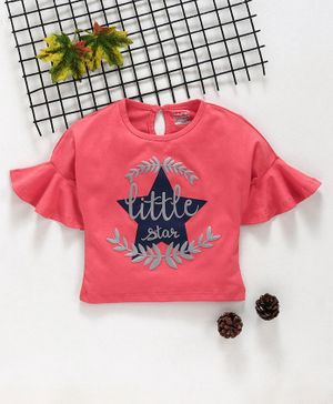 Babyhug Three Fourth Flounce Sleeves Top Star Print - Coral