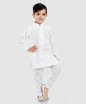 Dapper Dudes Full Sleeves Floral Embroidered Kurta & Pyjama Set - White