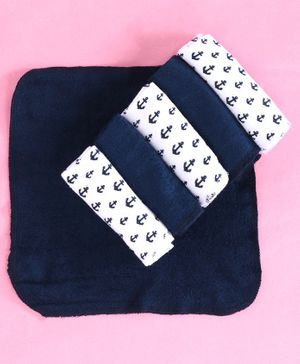 Babyhug Cotton Terry Hand & Face Towels Anchor Print Pack of 6 - White Navy Blue