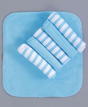 Babyhug Cotton Hand & Face Towels Stripes Print Pack of 6 - Blue White