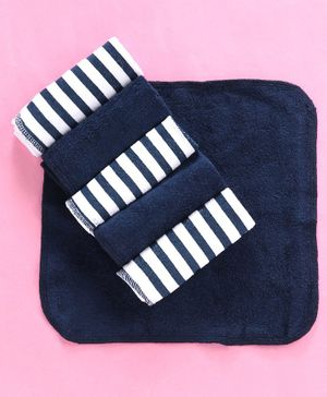 Babyhug Cotton Terry Striped Hand & Face Towels Pack of 6 - White Navy Blue