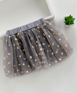 Meng Wa Elasticated Waist Skirt Polka Dot Print - Grey