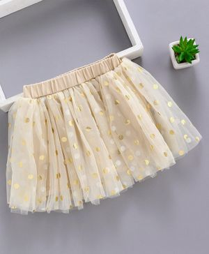 Meng Wa Elasticated Waist Skirt Polka Dot Print - Cream