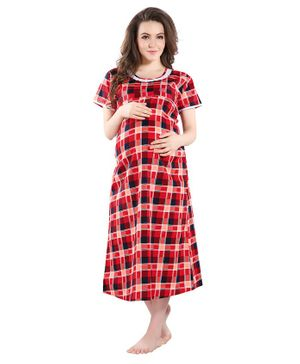 Piu Checked Half Sleeves Front Open Feeding & Maternity Nighty - Red