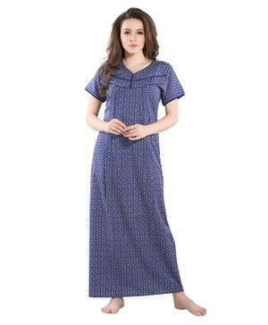 Piu Leaves Print Front Open Feeding & Maternity Nighty - Blue