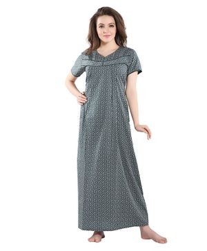 Piu Leaves Print Front Open Feeding & Maternity Nighty - Green