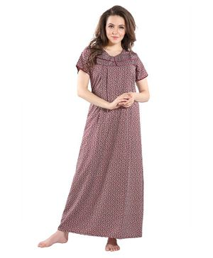 Piu Leaves Print Front Open Feeding & Maternity Nighty - Red