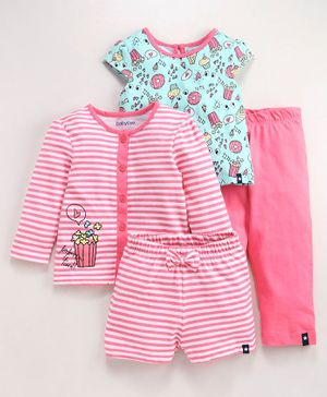 Babyoye Cotton Short & Full Sleeves Night Wear Striped & Printed Pack of 4 - Pink Blue