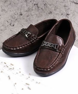 Cute Walk by Babyhug Party Wear Loafer Shoes - Dark Brown