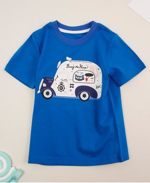 Awabox Half Sleeves Vehicle Print Tee - Blue
