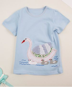 Awabox Half Sleeves Swan Patch Tee - Blue