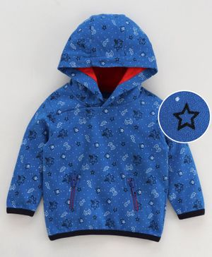 Babyoye Full Sleeves Hooded Cotton Sweatshirt Stars Print - Royal Blue