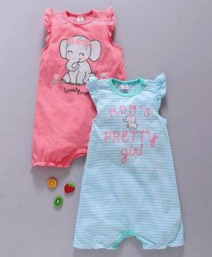 LC Waikiki Set Of Two Sleeveless Elephant Print Romper - Peach & Blue