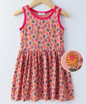 Crayonflakes Floral Print Sleeveless Dress - Peach