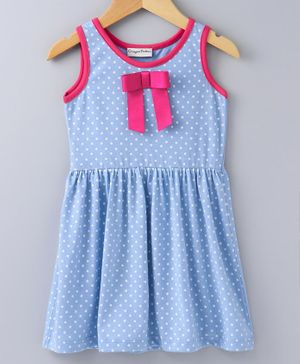 Crayonflakes Polka Dot Print Sleeveless Dress - Blue