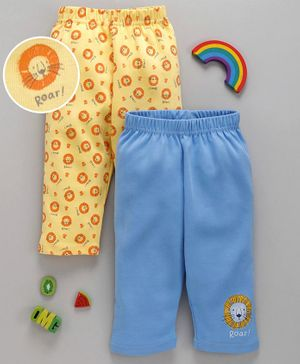 Babyhug Ankle Length Lounge Pants Pack of 2 - Blue Yellow