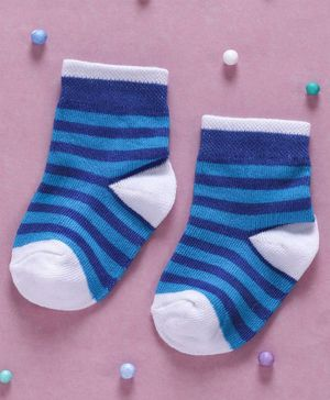 Cute Walk By Babyhug Non Terry Antibacterial Striped Ankle Length Socks - Blue