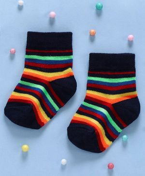 Cute Walk By Babyhug Non Terry Antibacterial Striped Ankle Length Socks - Multicolour