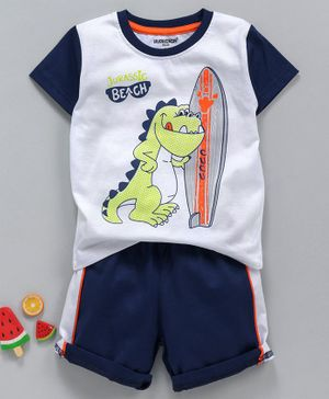 Cucumber Half Sleeves Tee And Shorts Jurassic Beach Print - White Navy Blue