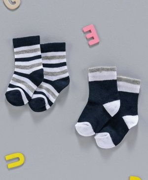 Cute Walk by Babyhug Non Terry Anti Bacterial Ankle Length Socks Pack of 2 - Navy Blue Grey