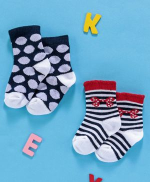 Cute Walk by Babyhug Anti Bacterial Ankle Length Socks Pack of 2 - Navy Blue Red White