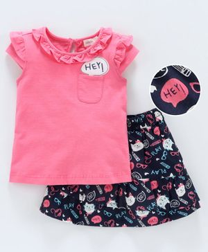 Babyoye Flutter Sleeves Tee & Skirt Set Multi Print - Navy Pink