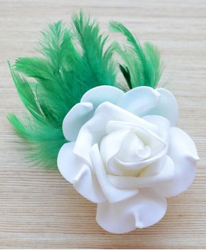 Pretty Ponytails Rose Applique Hair Clip - White & Green