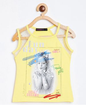 Ziama Sleeveless Quote Printed Tee - Yellow
