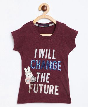 Ziama Short Sleeves Quote Printed Top - Maroon