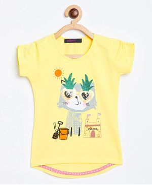 Ziama Short Sleeve Animal Sequin Print Top - Yellow