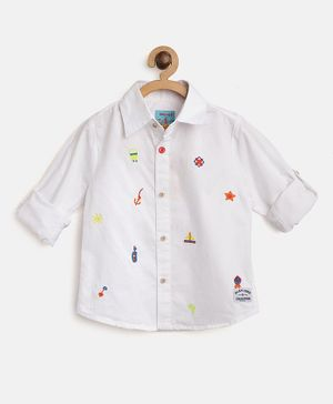 Nauti Nati Ship & Anchor Embroidered Full Sleeves Shirt - White
