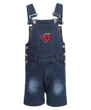 FirstClap FJ Patch Sleeveless Denim Dungaree - Dark Blue