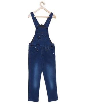 FirstClap Solid Sleeveless Denim Dungaree - Dark Blue
