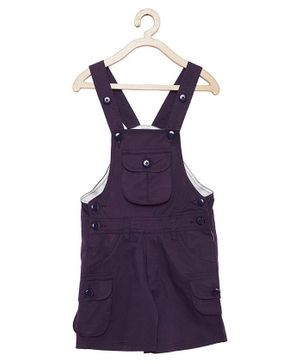 FirstClap Solid Sleeveless Dungaree - Puple
