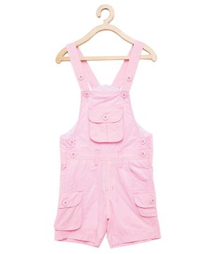 FirstClap Solid Sleeveless Dungaree - Pink