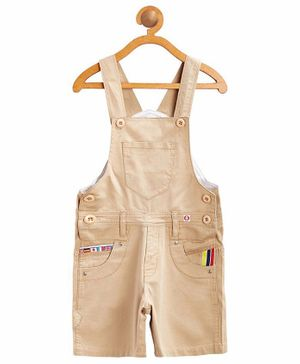 FirstClap Solid Sleeveless Dungaree - Brown