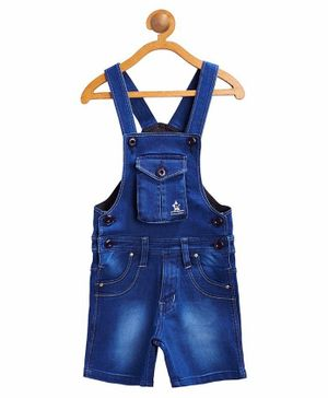 FirstClap Solid Sleeveless Short Dungaree - Dark Blue