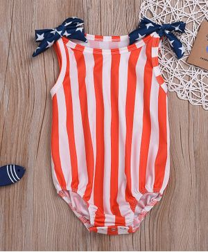 Pre Order - Awabox Striped Sleeveless Swimsuit - Blue
