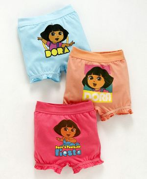 Red Rose Bloomers Dora Print Pack of 3 - Pink Peach Blue