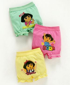 Red Rose Bloomers Dora Print Pack of 3 - Pink Yellow Green