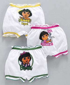 Red Rose Bloomers White Base Dora The Explorer Print Pack of 3 - Yellow Pink Green