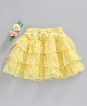 Babyhug Layered & Embroidered Lace Fabric Knitted Skirt - Yellow