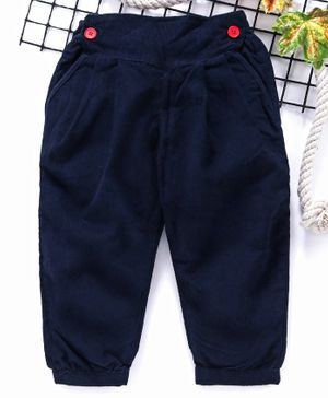 Babyhug Full Length Solid Color Corduroy Pants - Navy Blue