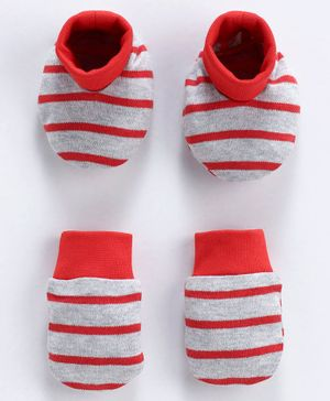 Babyoye Stripe Cotton Mittens And Booties - Red Grey