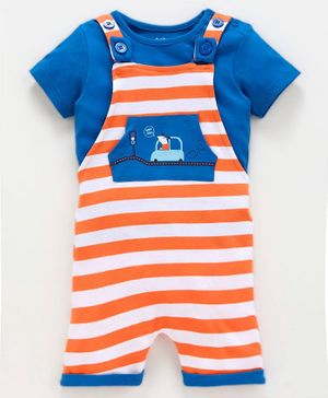 Babyoye Stripped Dungaree With Inner Half Sleeves Tee Star Car - Blue Orange