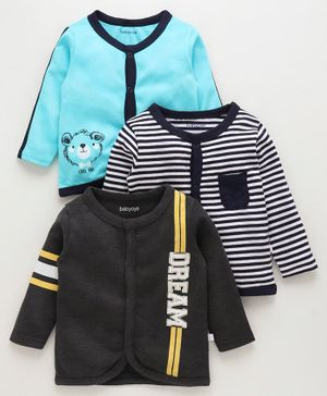 Babyoye Full Sleeves Cotton Vests Striped & Printed Pack of 3 - Black Sky Blue