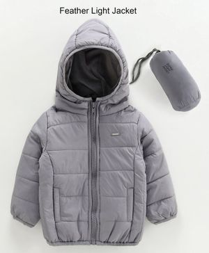 Babyoye Full Sleeves Ply Nylon Hooded Jacket With Carry Pouch - Grey