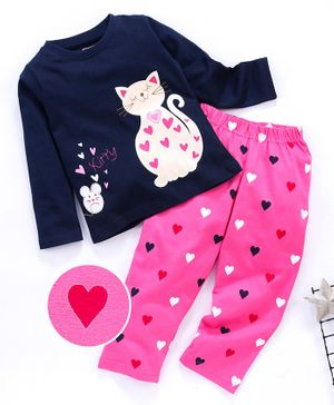 Babyhug Full Sleeves Night Suit Kitty & Heart Print - Navy Blue Fuchsia