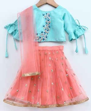 Babyoye Half Sleeves Lehenga Choli & Dupatta Set With Jari Border Work - Blue Peach
