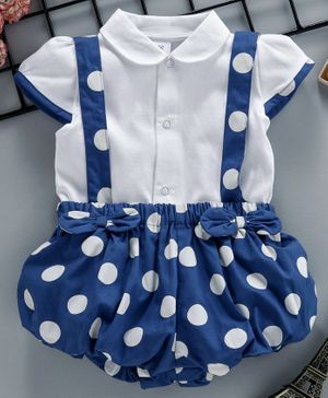 ToffyHouse Polka Dot Romper With Inner Cap Sleeves Solid Tee - Blue
